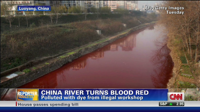 China river turns bright red