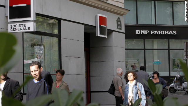 Societe General and BNP Paribas are two of the big banks downgraded Thursday by the ratings firm Fitch.
