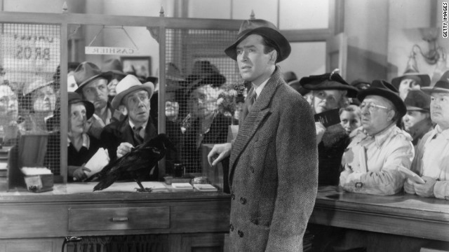 "James Stewart is the reluctant Bedford Falls lifer, George Bailey, in ""It's a Wonderful Life."""