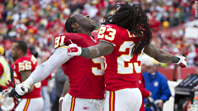 Tamba Hall and Kendrick Lewis of the Kansas City Chiefs celebrate after Sunday's win over the Green Bay Packers.