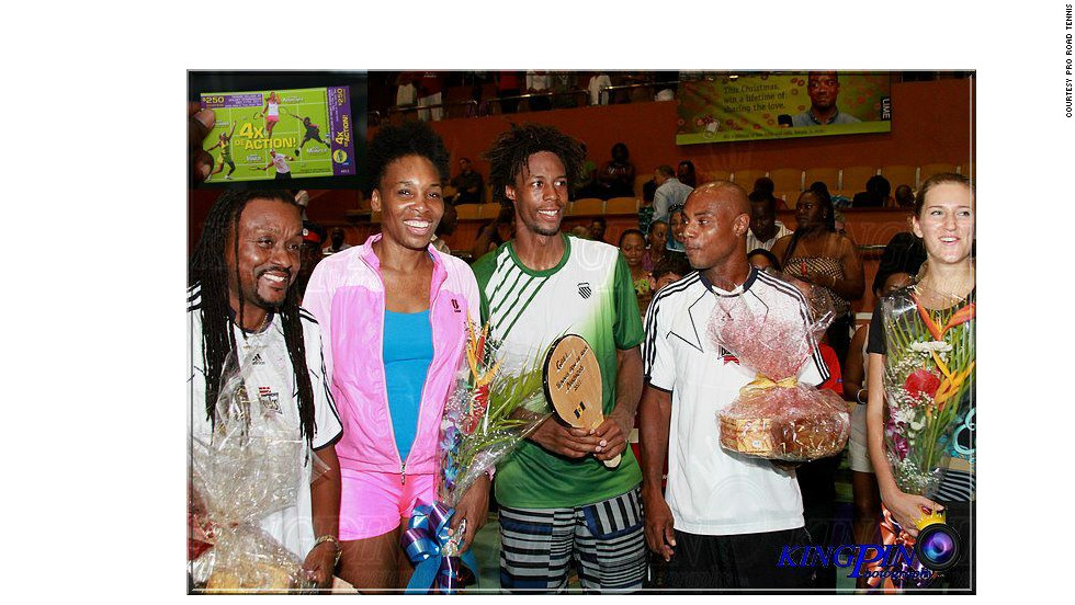 Tennis stars Venus Williams (second left), Gael Monfils (with racket) and Victoria Azarenka (far right) have been introduced to the Bajan sport.