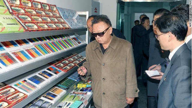 This undated photo released by North Korea's official Korean Central News Agency (KCNA) on May 8, 2011 shows North Korean leader Kim Jong-Il (C) visiting the Pyongyang Mechanical Pencil Factory in Pyongyang.