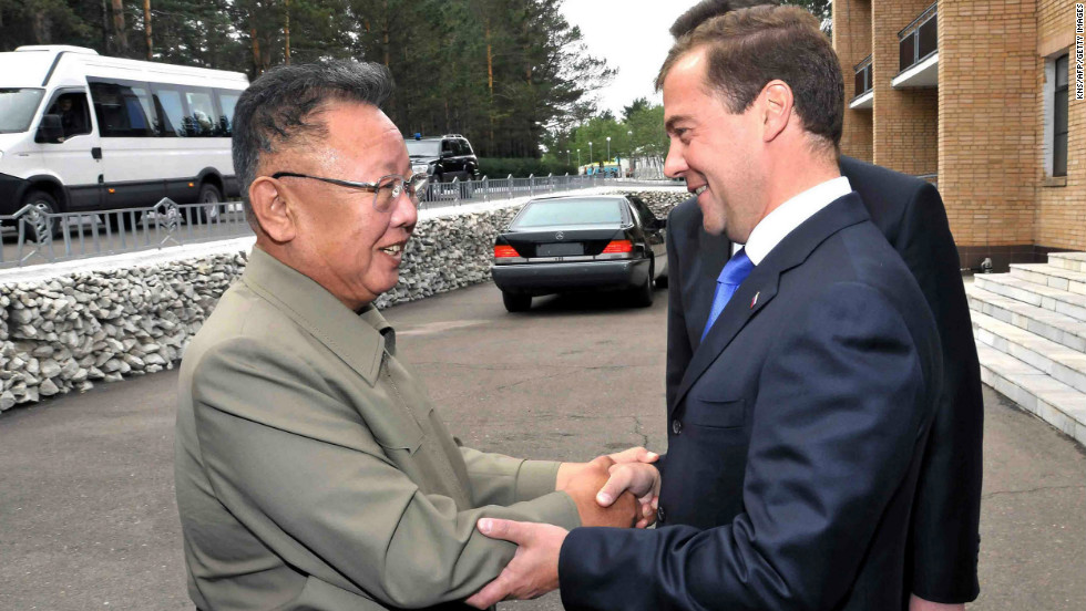 Russian President Dmitry Medvedev shakes hands with Kim Jong Il at Ulan-Ude in Russia's Buryatia on August 24, 2011, during a visit by Jong Il to eastern Russia.