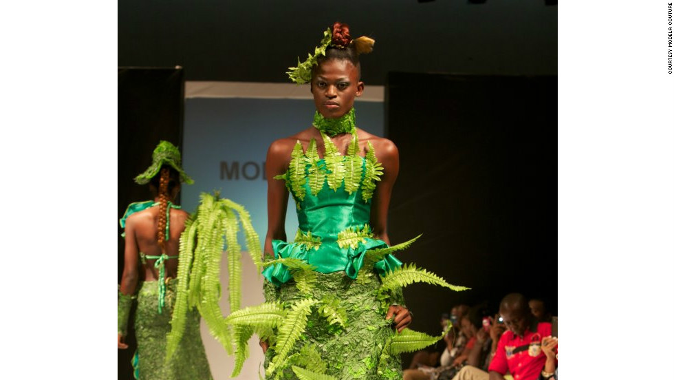 "This year's Nigeria Fashion Week showcased a ""Going Green"" collection to create awareness of environmental issues. Dress by Modela Couture."