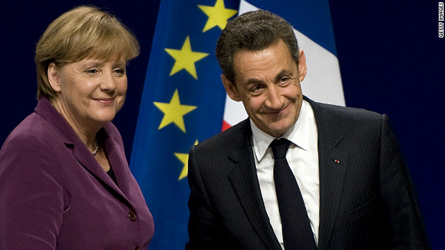 Hedge funds are betting that financial troubles aren't over for German Chancellor Angela Merkel, left,  and French President Nicolas Sarkozy.