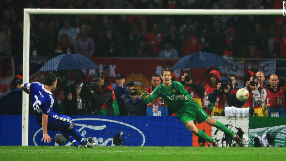 Chelsea faced Manchester United in the 2008 European Champions League final in Moscow. In the penalty shootout, Terry had the chance to give Chelsea the trophy for the first time but his spot-kick hit the post and United claimed glory.