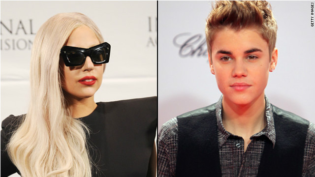 Lady Gaga and Justin Bieber are two of the year's top trending topics.
