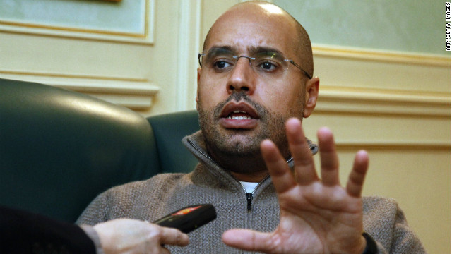 Saif al-Islam Gadhafi speaks during a press interview in Tripoli on February 26, 2011