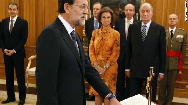 New Spanish Prime Minister Mariano Rajoy is sworn in during a ceremony at the Zarzuela Palace in Madrid, on December 21, 2011