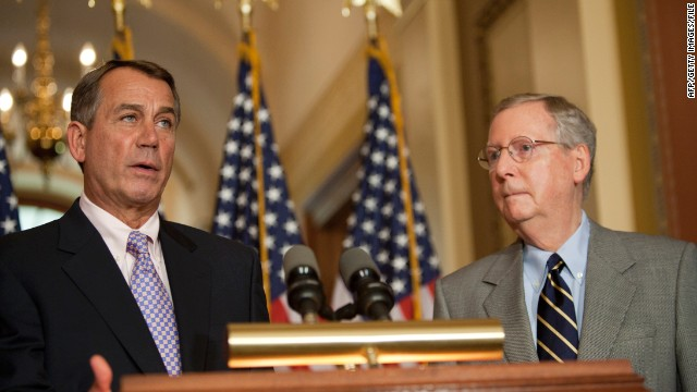 House Speaker John Boehner and Senate MInority Leader Mitch McConnell appeared together at a news conference July 30, 2011 on Capitol Hill.