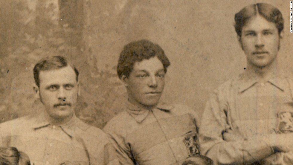 Andrew Watson pictured with his Scotland teammates in 1881. Watson made his international debut the same year, captaining Scotland to a 6-1 victory over England at London's Oval stadium. The defeat remains the heaviest England have suffered on home soil.