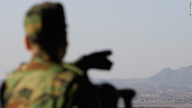 A South Korean soldier at an observation post in Panmunjom looks at North Korea on Thursday.