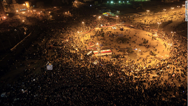 Thousands of Egyptians gather in Cairo's Tahrir Square on Saturday during a rally to denounce the country's military rulers.