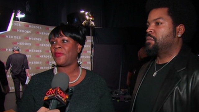 Dr. Sanjay Gupta interviews CNN Heroe Diane Latiker and presenter Ice Cube backstage at the 2011 Heroes tribute in los angeles