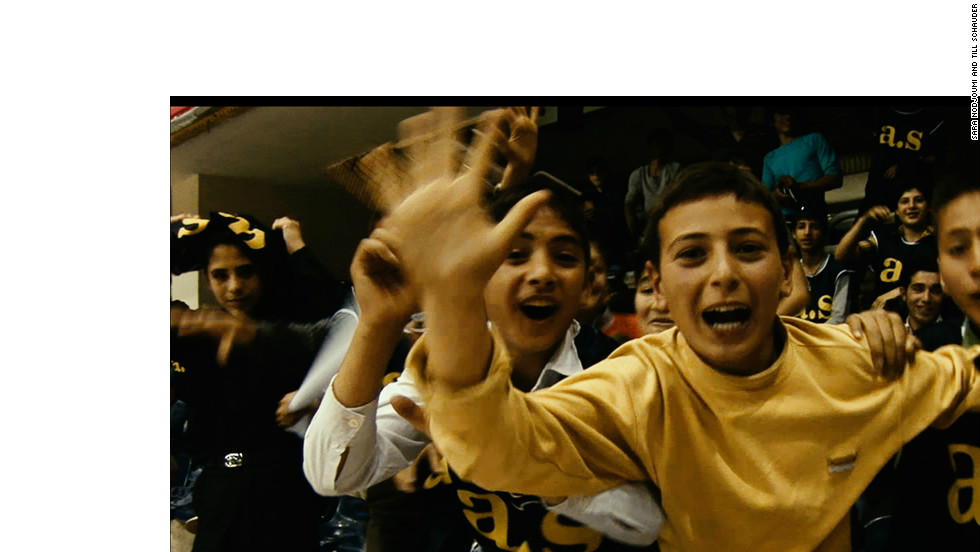 A group of young Iranian fans gather to cheer on Shiraz, who reached the Iranian Super League playoffs for the fitst time after Sheppard's arrival.