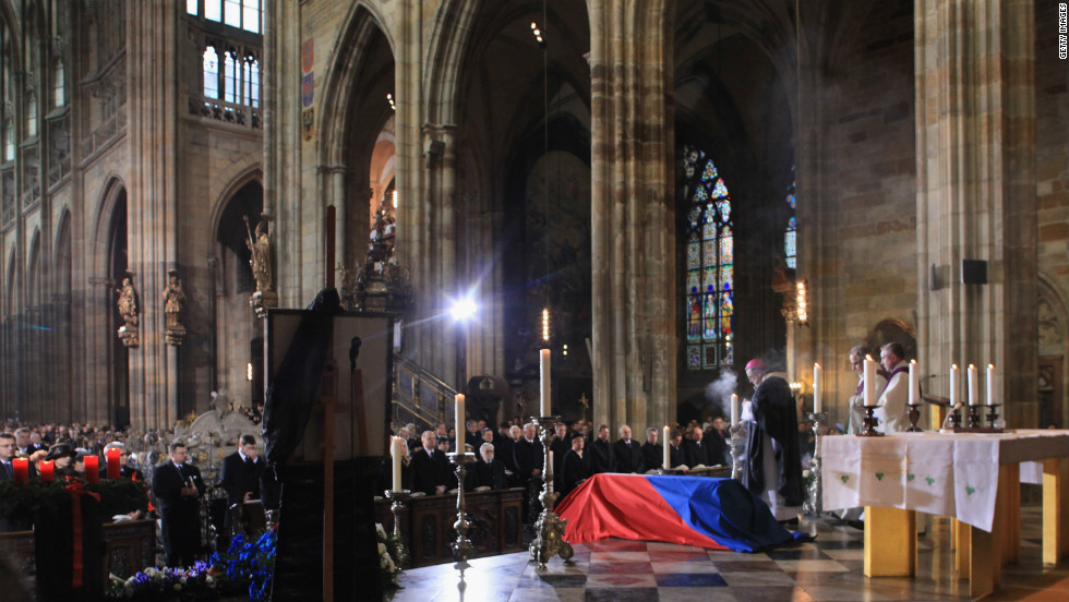 The coffin of  President Vaclav Havel lies draped under a Czech flag during his state funeral Friday at St Vitus Cathederal, Prague.