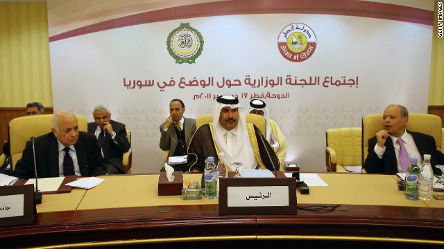 Arab League secretary general Nabil al-Arabi (L), his deputy Ahmed bin Hilly (R) and Qatari Premier and Foreign Minister Sheikh Hamad bin Jassem al-Thani (C) attend an Arab League ministerial committe