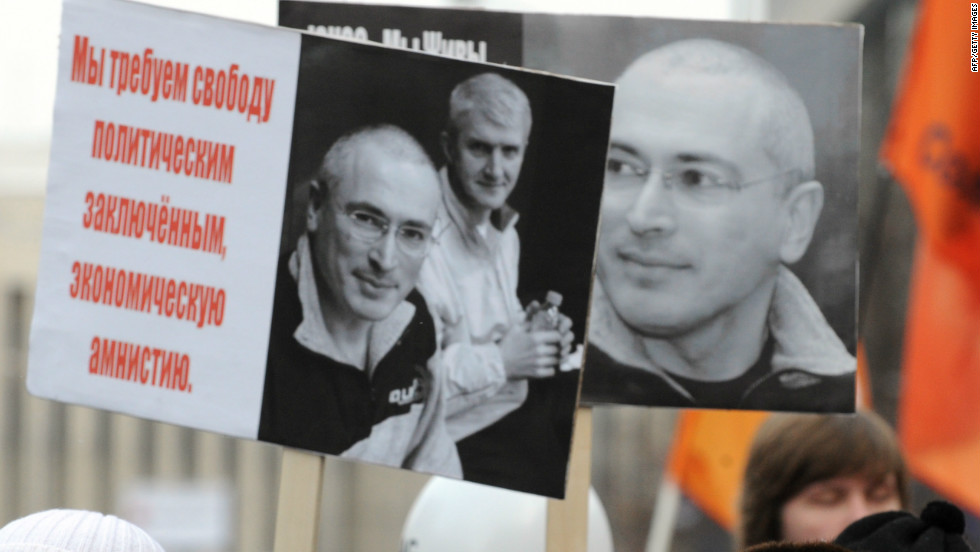 Demonstrators carried banners of jailed oil magnate Mikhail Khodorkovsky during the Moscow protests.