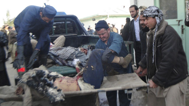 About 20 people died when a suicide bomber targeted a funeral procession in northeastern Afghanistan.