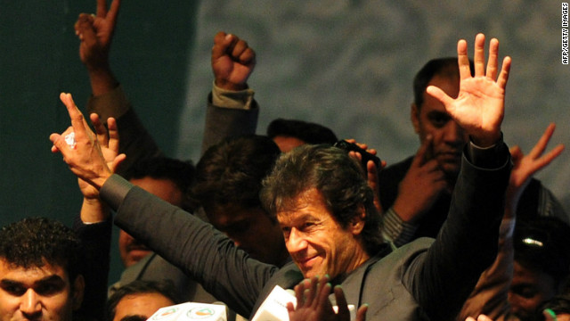 Pakistani former cricketer-turned-politician Imran Khan addresses supporters in Karachi on Sunday.