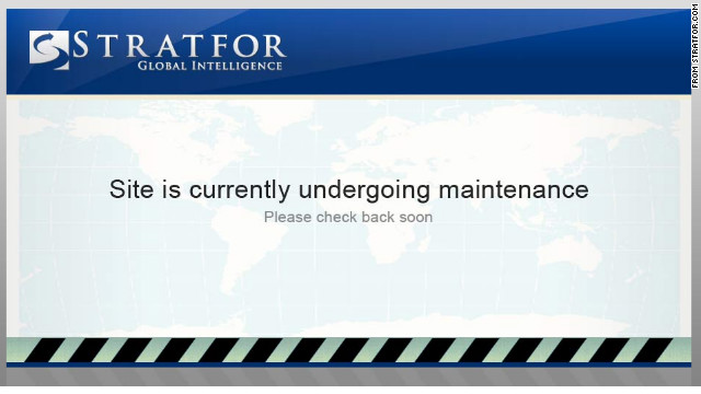Stratfor's website displayed a maintenance message after the company was hacked.
