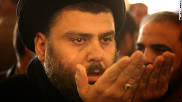 The bloc loyal to Shiite cleric Muqtada al-Sadr, pictured in January 2011, is calling for fresh Iraq elections.