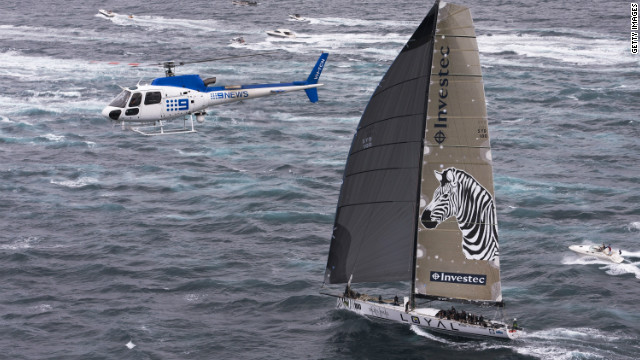 Investec Loyal is pushing Wild Oats hard in the battle for Rolex Sydney-Hobart line honors.