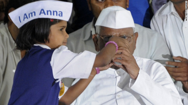 Anna Hazare broke his fast Wednesday but pledged a campaign against politicians who rejected his version of an anti-graft bill.