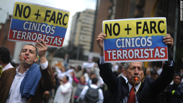 Colombians protest in Bogota against the FARC guerilla group on December 6.