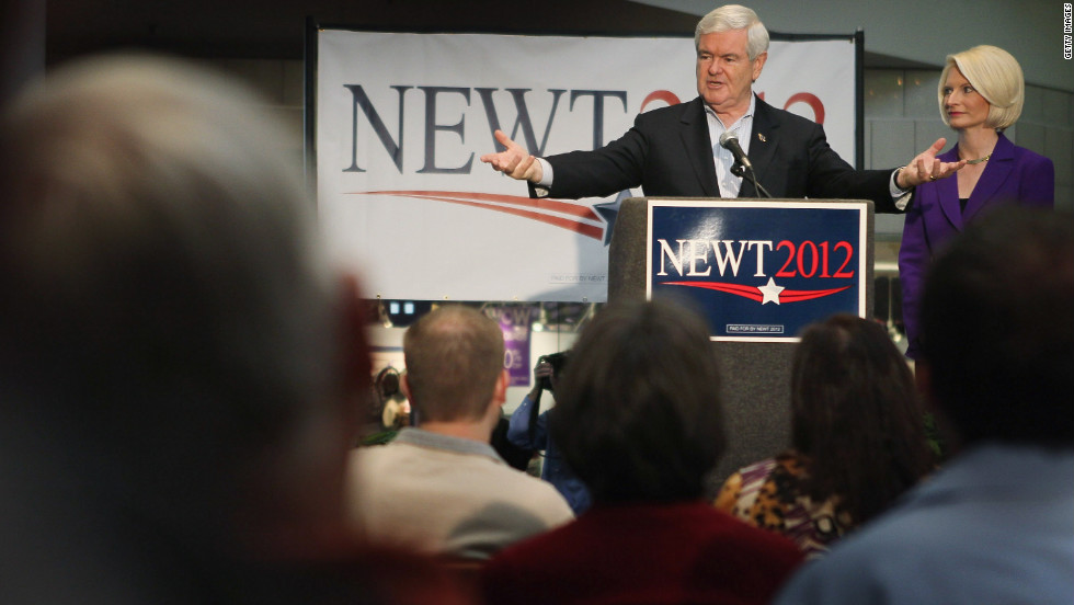 Former Speaker of the House Newt Gingrich speaks in Mason City, Iowa. Gingrich was a key Republican leader during Democrat Bill Clinton's presidency. His belief that some illegal immigrants should get a right to legal permanent residency did not go down well with some conservatives.