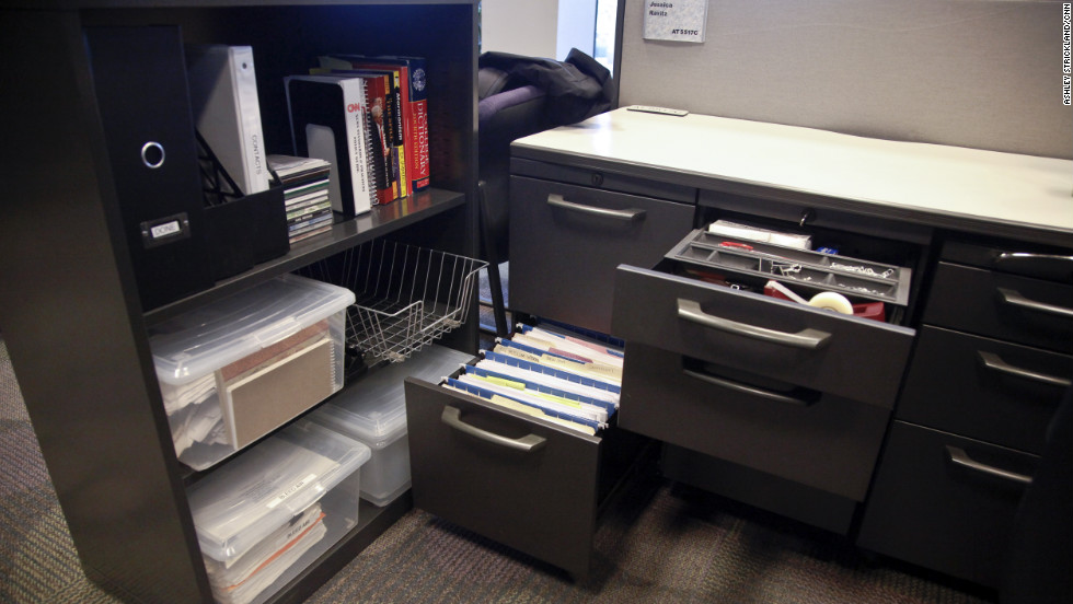 Bins to store documents for big stories while cabinets store a few published story files.