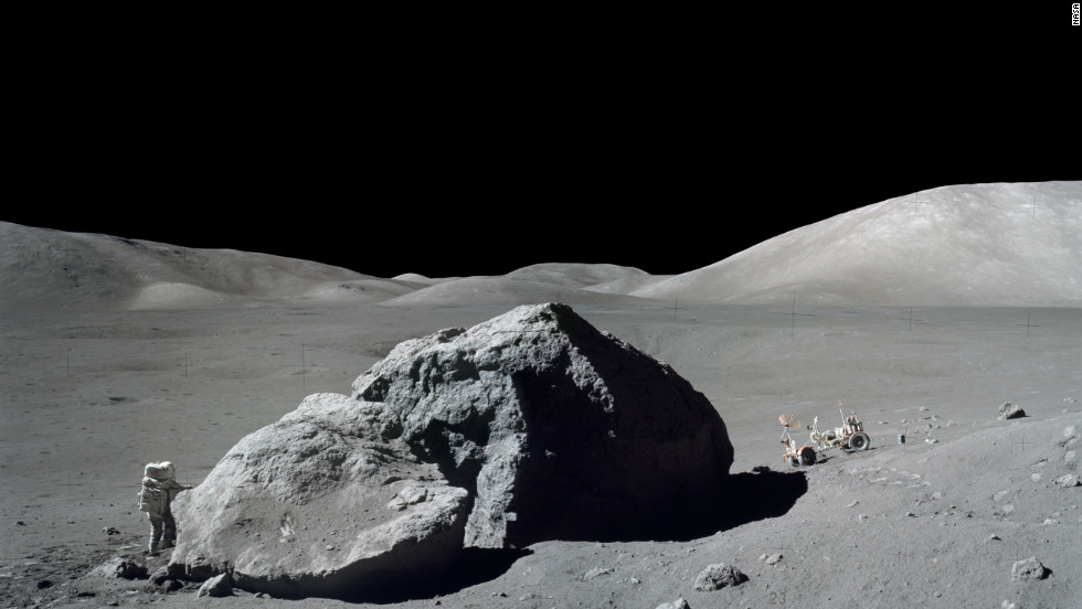 NASA's Apollo 17 launched December 7, 1972, with astronauts Eugene Cernan, Harrison Schmitt and Ronald Evans aboard for a visit to the moon. It would be the last manned mission to the moon to date.