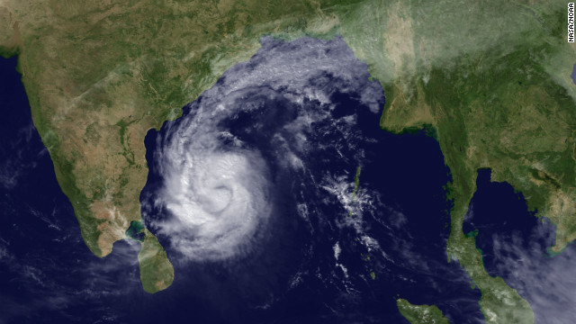 A satellite image of Tropical Storm Thane barreling toward India on December 28, 2011.