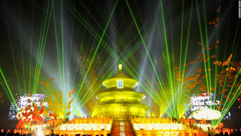 The Temple of Heaven (The Qi Nian Temple) is illuminated as Beijing celebrates the new year.