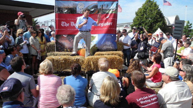 Rick Perry speaks at the Iowa State Fair in August.