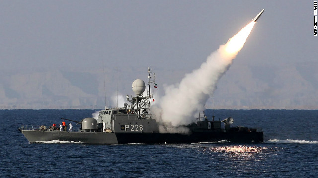 Iranian navy fires a Mehrab missile during the 'Velayat-90' naval wargames in the Strait of Hormuz in southern Iran on January 1, 2012.
