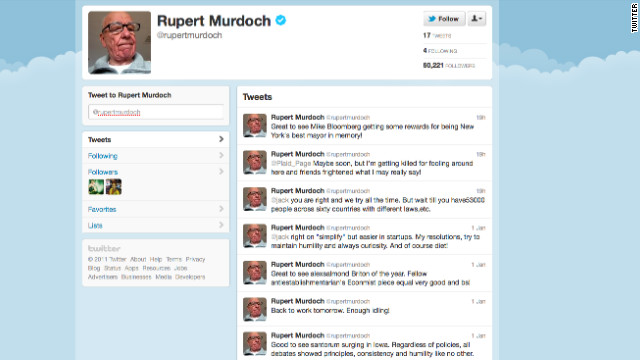 Twitter newbie Rupert Murdoch following fake account - CNN.com