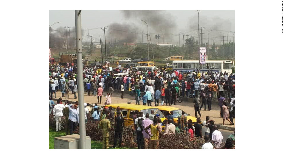 Protesters march in Lagos, over an increase in fuel-prices, photographed by iReporter Samuel Osabuohien.