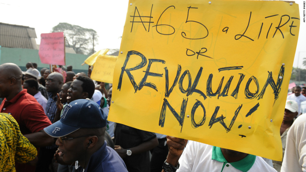Union and civil rights activists march in Lagos, Nigeria, to protest the removal of petrol subsidies by the government.
