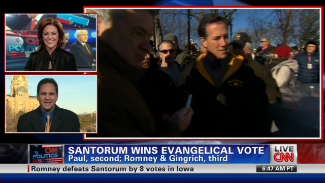 Santorum wins Iowa evangelical vote