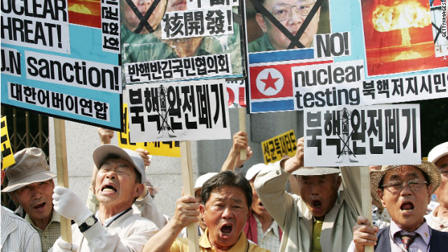 South Korean protesters rally in May, 2009, in Seoul against North Korea after it announced it had conducted a nuclear test.