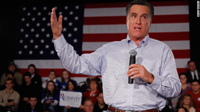 Republican presidential candidate Mitt Romney addresses a town hall meeting Wednesday in Manchester, New Hampshire.