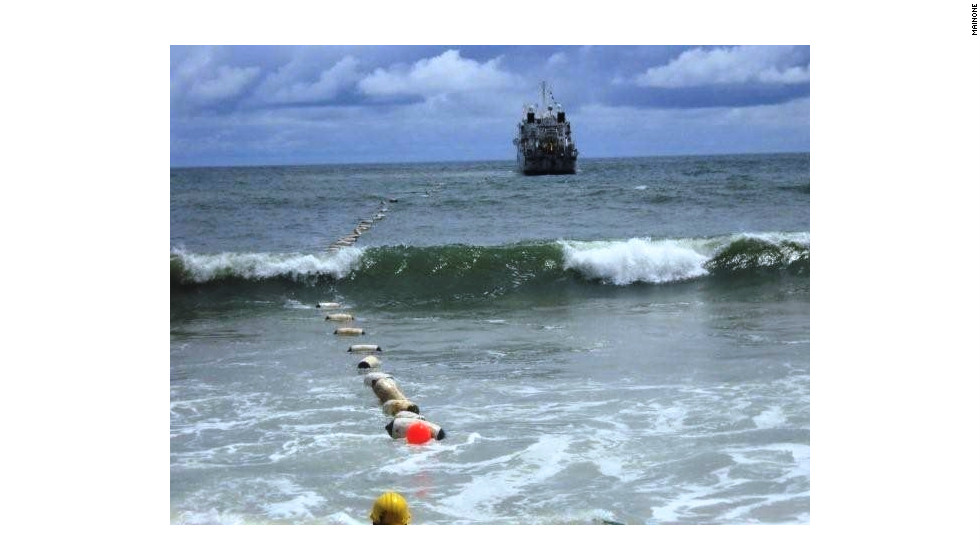 Main One Cable lands in Lagos, Nigeria -- the fiber-optic cable has a capacity of 1.92 terabits a second.