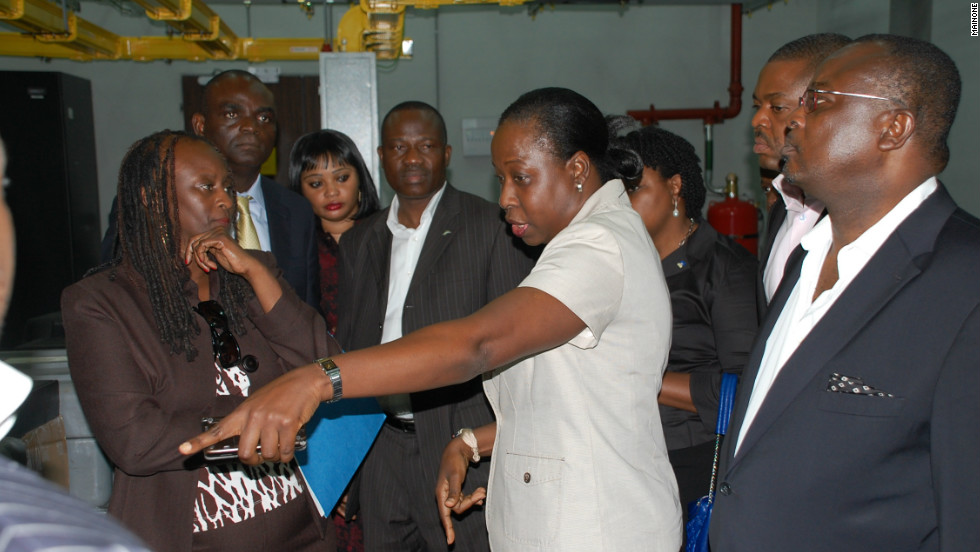Former U.S. ambassador Robin Sanders (left) visits the Main One Cable landing station in Lagos.