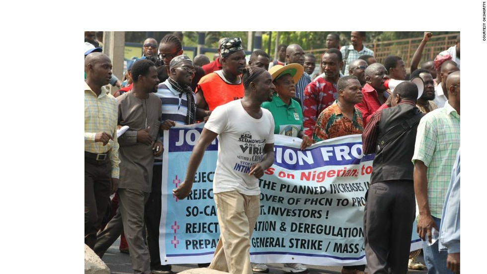 "After learning about the fuel subsidy protests from Twitter on Tuesday, iReporter Kfire decided to join the crowds in Lagos. ""The aim of the protest was to disrupt vehicular movement, shut down gas stations and ask people to go back home,"" he said."