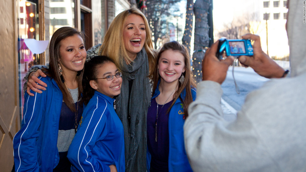 Host Cat Deeley posed for a snapshot with fans.