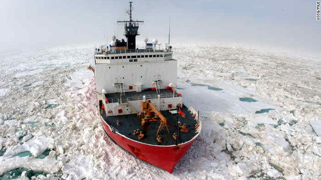 The USCG Cutter Healy will plow a 300-mile-long path for a Russian-flagged tanker this week.