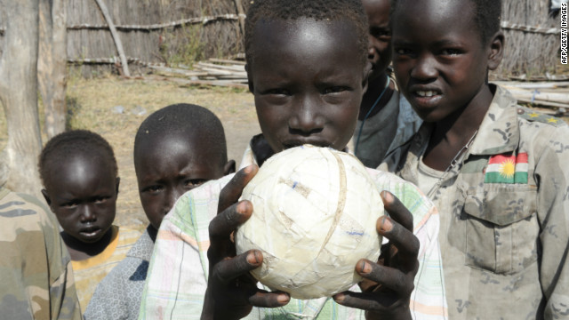 In a U.N. photo, displaced children play with a handmade ball in Pibor, Jonglei state after fleeing a wave of bloody ethnic violence.