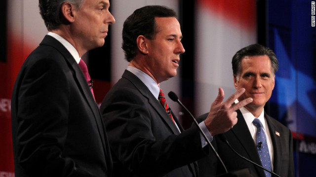 Jon Huntsman, left, Rick Santorum and Mitt Romney participate in Sunday's debate in New Hampshire.