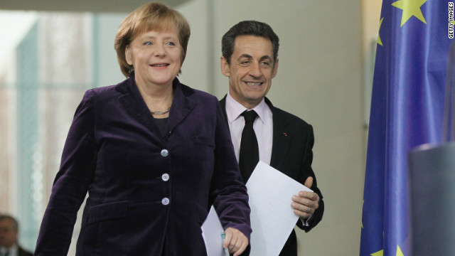 German Chancellor Angela Merkel and French President Nicolas Sarkozy following talks at the Chancellery in Berlin.